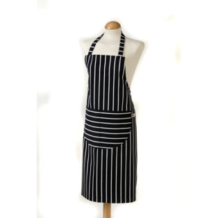 C`est �a! Butcher Stripe Apron Navy - Large Size 100% Cotton