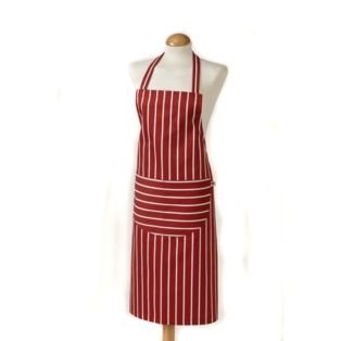 C`est �a! Butcher Stripe Apron Red - 100% Cotton 822045