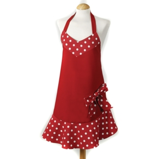 Belle Apron, Red Bow Design 100% Cotton Made in UK