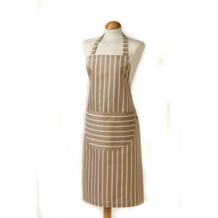Butcher Stripe Apron Taupe 100% Cotton. Made in UK