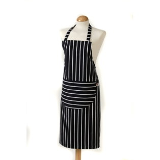 Butcher Stripe Apron, Navy 100% Cotton, Made in UK