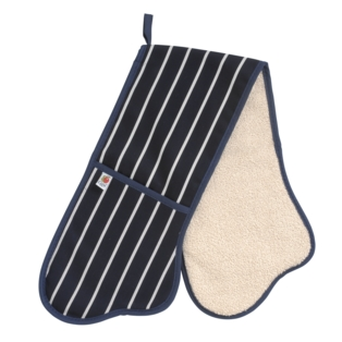 Butcher Stripe Double Oven Glove, Navy, Made in UK